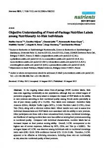 Objective Understanding of Front-of-Package Nutrition Labels ... - MDPI