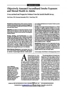 Objectively Assessed Secondhand Smoke Exposure ... - Recovery PLUS