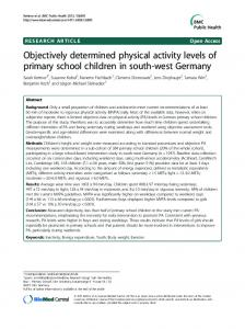 Objectively determined physical activity levels of primary school