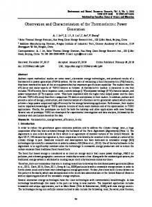 Observation and Characterization of the Thermoelectric Power ...