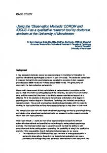 'Observation Methods' CDROM and fOCUS II as a qualitative research ...
