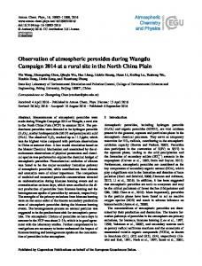 Observation of atmospheric peroxides during Wangdu Campaign ...