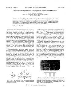 Observation of single-electron charging effects in ... - APS Link Manager
