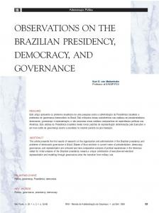 observations on the brazilian presidency, democracy, and ... - SciELO
