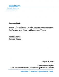 Obstacles to Good Corporate Governance in Canada - Task Force to ...