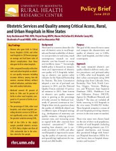 Obstetric services and quality among critical access, rural, and ...
