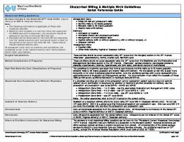 Obstetrical Billing & Multiple Birth Guidelines Quick Reference Guide