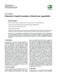 Obstructive Uropathy Secondary to Missed Acute Appendicitis