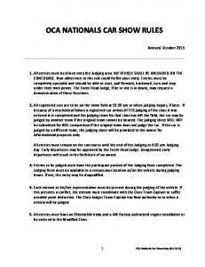 OCA NATIONALS CAR SHOW RULES
