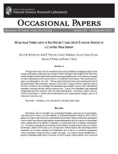 Occasional Papers - Natural Science Research Laboratory - Texas ...