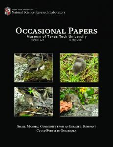 Occasional Papers Occasional Papers - Natural Science Research ...