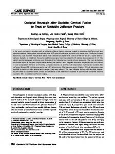 Occipital Neuralgia after Occipital Cervical Fusion to Treat an Unstable ...