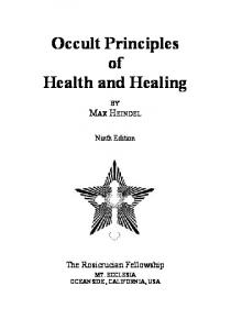 Occult Principles of Health and Healing - The Rosicrucian Fellowship