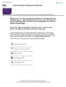 Occupational asthma contribution to phenotyping ...