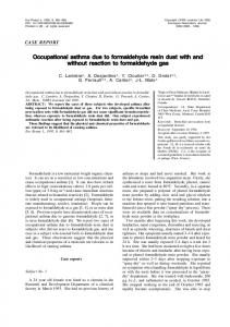 Occupational asthma due to formaldehyde resin dust with ... - CiteSeerX