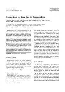 Occupational Asthma Due to Formaldehyde - Yonsei Medical Journal