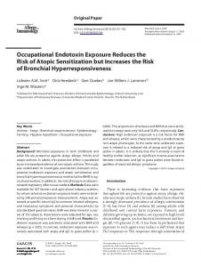 Occupational Endotoxin Exposure Reduces the