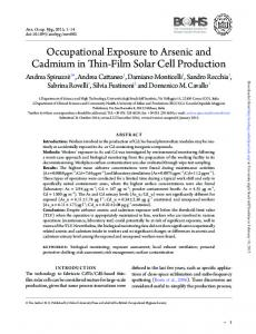 Occupational Exposure to Arsenic and Cadmium in