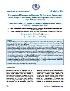 Occupational Exposure to Mercury: Air Exposure Assessment and ...