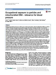 Occupational exposure to particles and mitochondrial ... - CyberLeninka