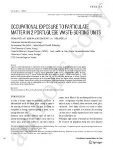 occupational exposure to particulate matter in 2 ... - Springer Link