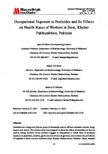 Occupational Exposure to Pesticides and Its Effects on Health Status ...