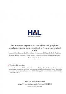Occupational exposure to pesticides and lymphoid neoplasms ...