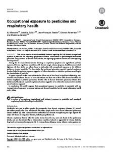 Occupational exposure to pesticides and ... - Semantic Scholar