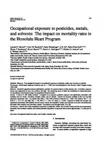 Occupational exposure to pesticides, metals, and solvents - IOS Press