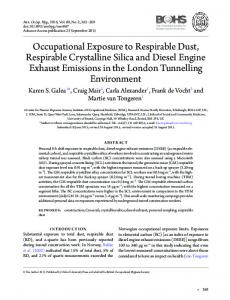 Occupational Exposure to Respirable Dust, Respirable Crystalline ...