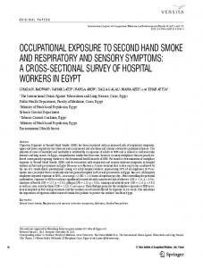 OCCUPATIONAL EXPOSURE TO SECOND HAND SMOKE AND ...