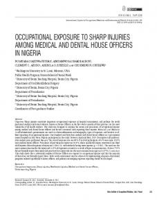 occupational exposure to sharp injuries among ... - Semantic Scholar