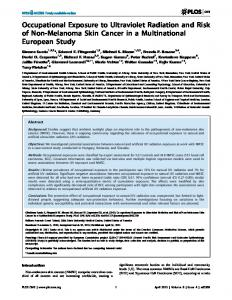 Occupational Exposure to Ultraviolet Radiation and Risk of Non ... - Plos