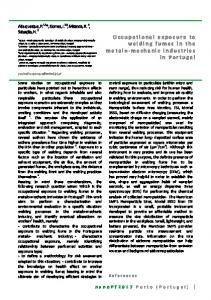 Occupational exposure to welding fumes in the metalo ... - nanoPT
