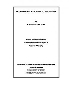 occupational exposure to wood dust - The University of Sydney