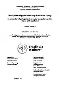 Occupational gaps after acquired brain injury - KI Open Archive