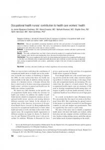 Occupational health nurses' contribution to health care workers' health