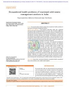 Occupational health problems of municipal solid ...