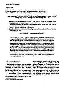 Occupational Health Research in Taiwan - Semantic Scholar