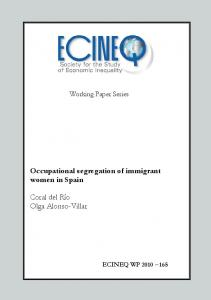 Occupational segregation of immigrant women in Spain Coral ... - ecineq