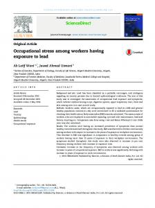 Occupational stress among workers having exposure