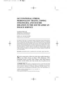 occupational stress, personality traits, coping strategies ... - CiteSeerX