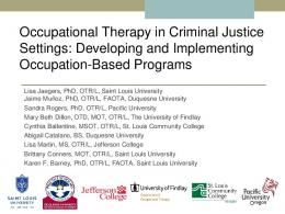 Occupational Therapy in Criminal Justice Settings