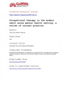 Occupational therapy in the modern adult acute mental health ...