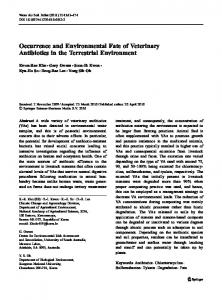 Occurrence and Environmental Fate of Veterinary ... - CiteSeerX