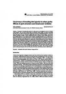 Occurrence of breeding bird species in urban parks - Springer Link
