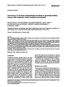Occurrence of cervical intraepithelial neoplasia in generally ... - NCBI