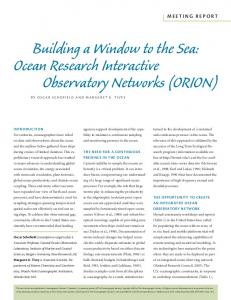 Ocean Research Interactive Observatory Networks (ORION) - The ...