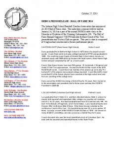 October 27, 2013 IHSBCA PRESS RELEASE: HALL OF FAME 2014 ...