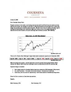 October 8, 2008 Dear Courneya Group Client: Negative sentiment in ...